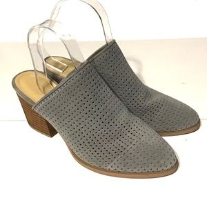 Marc Fisher Ripley Mules Perforated Gray Size 8.5